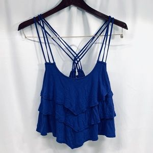 Mine Tiered Handkerchief Blue Crop Top Size M.
